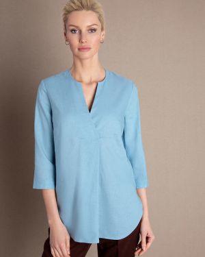 Бирюзовая блузка с V-образным вырезом с рукавом 3/4 из вискозы Ostin