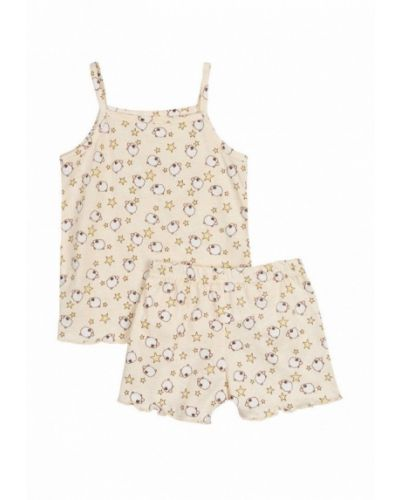Пижама бежевый фламинго текстиль