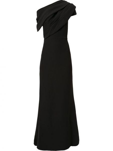 Асимметричное черное платье макси узкого кроя Badgley Mischka