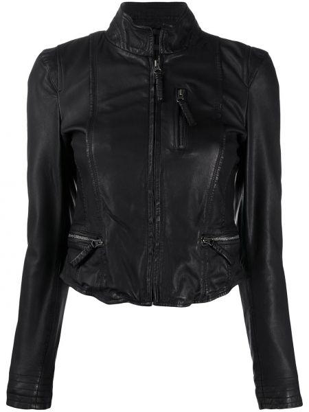 Черная кожаная куртка на молнии Munderingskompagniet