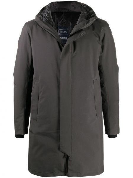 Puchaty klasyczny długi płaszcz z długimi rękawami z kapturem Herno