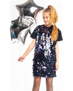 Свободное черное платье с рукавами с пайетками свободного кроя Orby