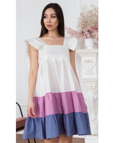 Повседневное фиолетовое платье миди трапеция Leo Pride