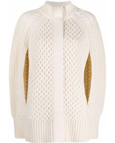 Biała prążkowana narzutka wełniana Alexander Mcqueen