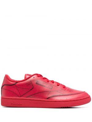 Кожаные красные кеды на шнуровке Maison Margiela X Reebok