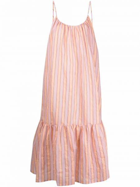 Шелковое розовое платье миди в полоску Tela