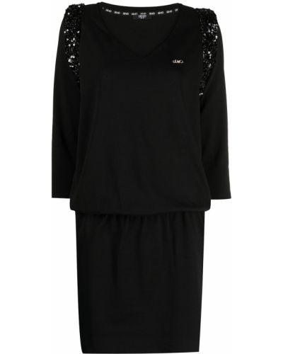 Хлопковое черное платье мини круглое Liu Jo