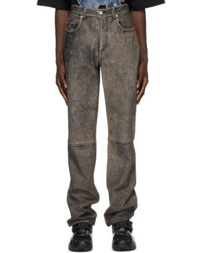 Черные кожаные брюки дудочки для полных We11done