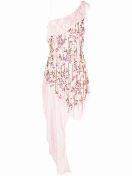 Розовое платье с бахромой без рукавов Blumarine