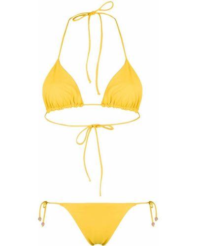 Пляжные желтые бикини эластичные с завязками Tara Matthews