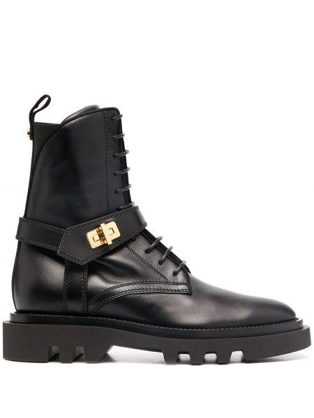 Ażurowy skórzany czarny buty obcasy zasznurować Givenchy