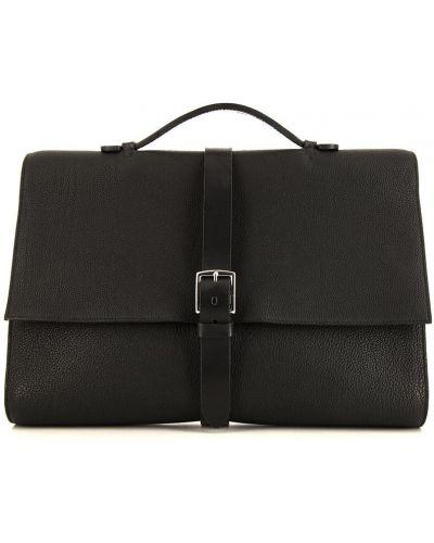 Черный кожаный портфель с карманами Hermes