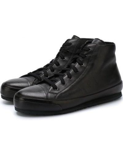 Высокие кеды черные кожаный Brioni