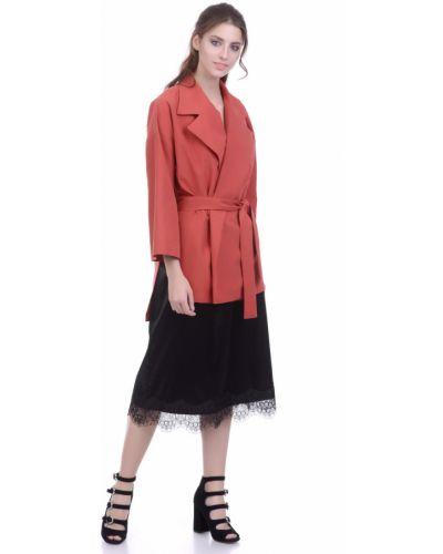 Модный удлиненный пиджак с поясом с воротником Lautus