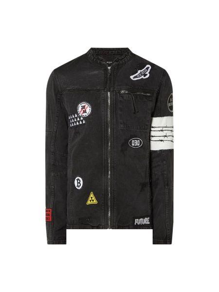 Bawełna czarny kurtka jeansowa z kieszeniami ze stójką Be Edgy