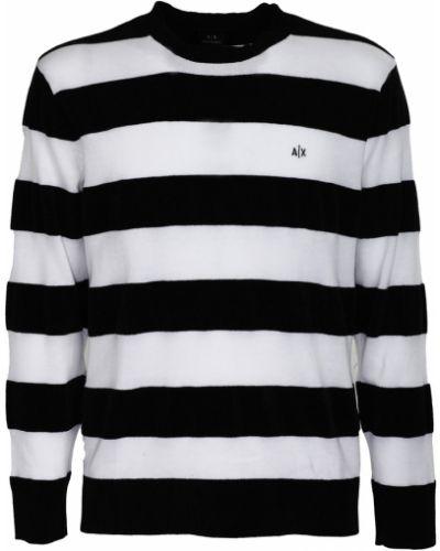 Czarny długi sweter oversize w paski Armani Exchange