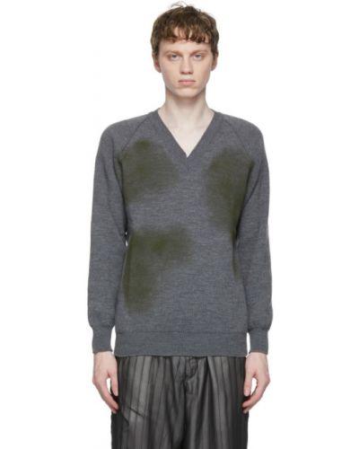 Długi sweter khaki z dekoltem w serek z długimi rękawami Comme Des Garcons Homme Deux