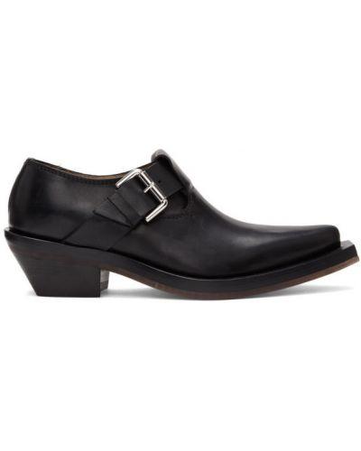 Czarny skórzany loafers na pięcie z ostrym nosem Ion