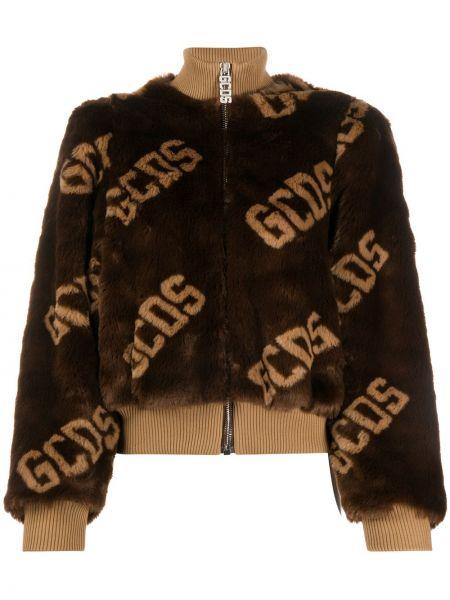 Коричневая стеганая длинная куртка с воротником Gcds