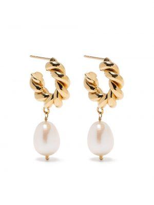 Złote kolczyki sztyfty perły Isabel Lennse