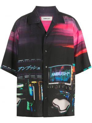Черная рубашка с короткими рукавами с воротником свободного кроя на пуговицах Ambush