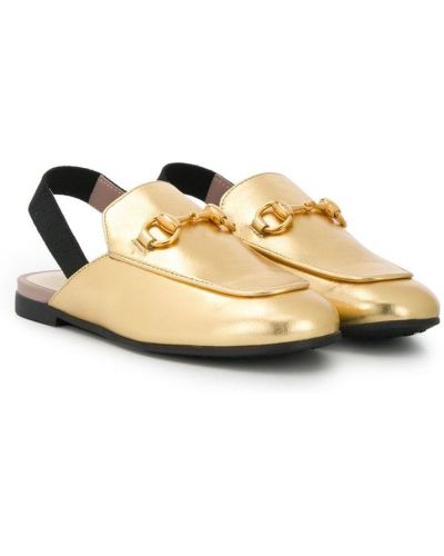 Kapcie z prawdziwej skóry złoto Gucci Kids