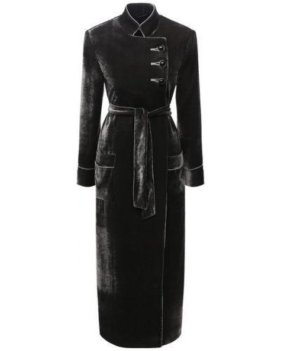 Серое пальто из вискозы с подкладкой Giorgio Armani