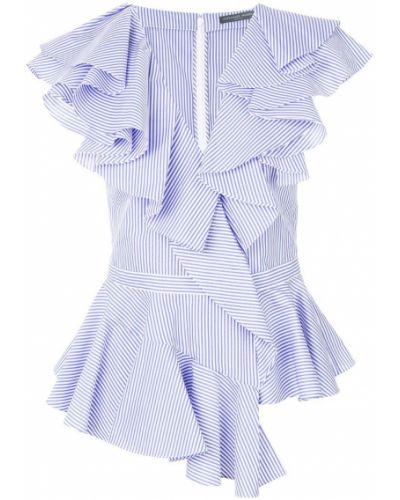 Блузка без рукавов в полоску с рюшами Alexander Mcqueen
