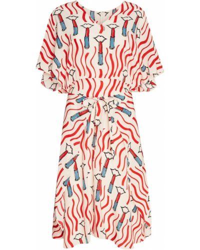 Платье миди с V-образным вырезом летучая мышь Valentino