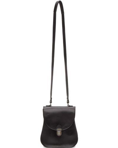 С ремешком черная маленькая сумка с тиснением из натуральной кожи Cherevichkiotvichki