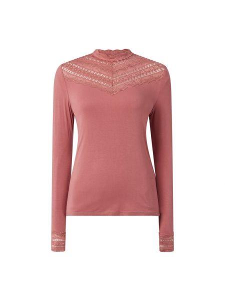 Ażurowa różowa bluzka z wiskozy Rosemunde