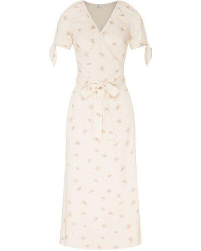 Приталенное бежевое платье миди с запахом Laroom