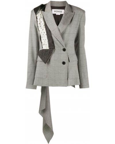 Серый однобортный удлиненный пиджак на пуговицах со вставками Monse