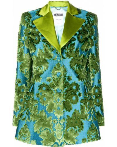 Шелковый синий удлиненный пиджак на пуговицах Moschino