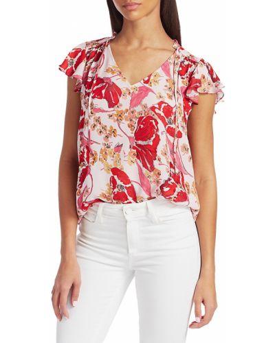 Шелковая блузка с V-образным вырезом в цветочный принт Parker