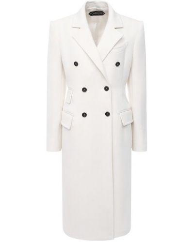 Черное пальто на пуговицах двубортное Tom Ford