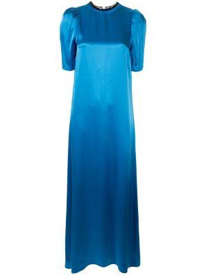 Шелковое платье макси - синее Macgraw