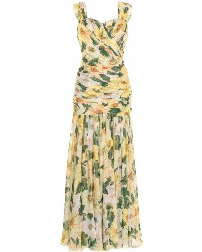 Желтое шелковое вечернее платье в цветочный принт Dolce & Gabbana