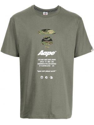Zielona t-shirt z printem Aape By A Bathing Ape
