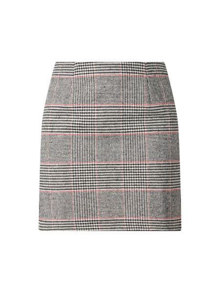 Czarna spódnica mini wełniana w kratę Ltb