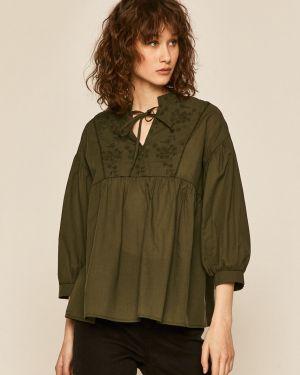 Zielona bluzka z haftem bawełniana Medicine