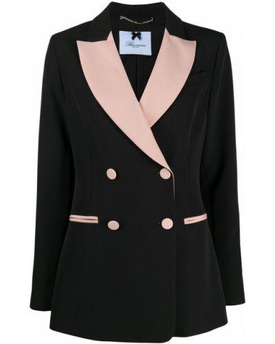 Черный удлиненный пиджак двубортный на пуговицах Blumarine