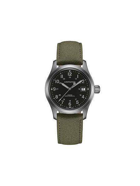 Zielony zegarek mechaniczny srebrny szafir Hamilton Watch
