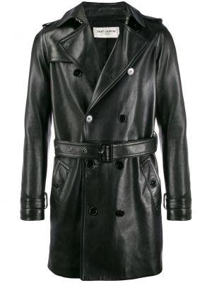 Czarny płaszcz skórzany Saint Laurent