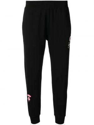 Облегающие хлопковые черные спортивные брюки Aape By A Bathing Ape