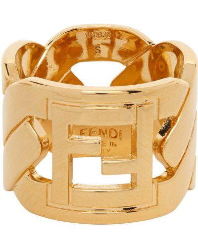 Złoty pierścionek Fendi