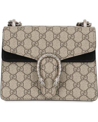 Коричневая маленькая сумка с пряжкой металлическая с карманами Gucci