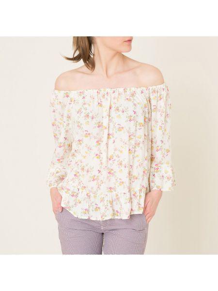 Бежевая прямая блузка с оборками с вырезом Denim & Supply Ralph Lauren