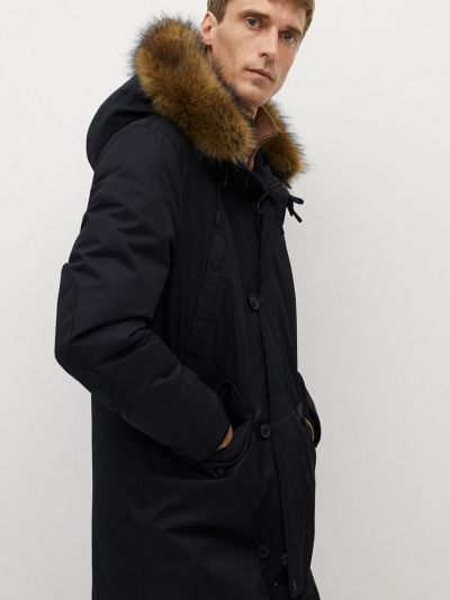 Куртка с капюшоном из искусственного меха на пуговицах Mango Man