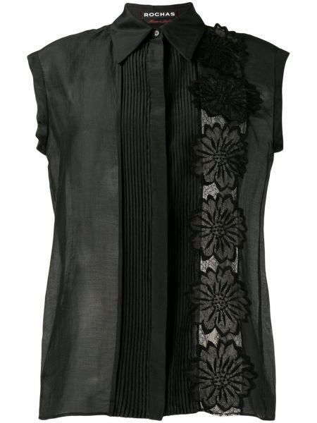 Шелковая черная рубашка с аппликациями Rochas